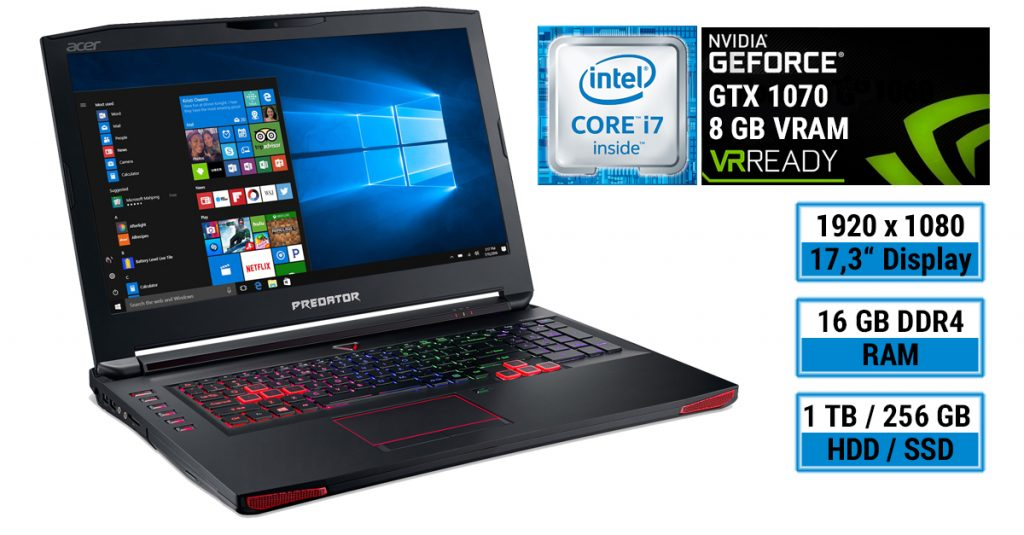 Test: Acer Predator 17 G9-793-79NC – kraftvolles Gaming-Notebook mit Geforce GTX 1070