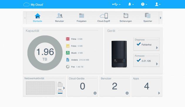 WD MyCloud Ex2 Ultra Web-Interface