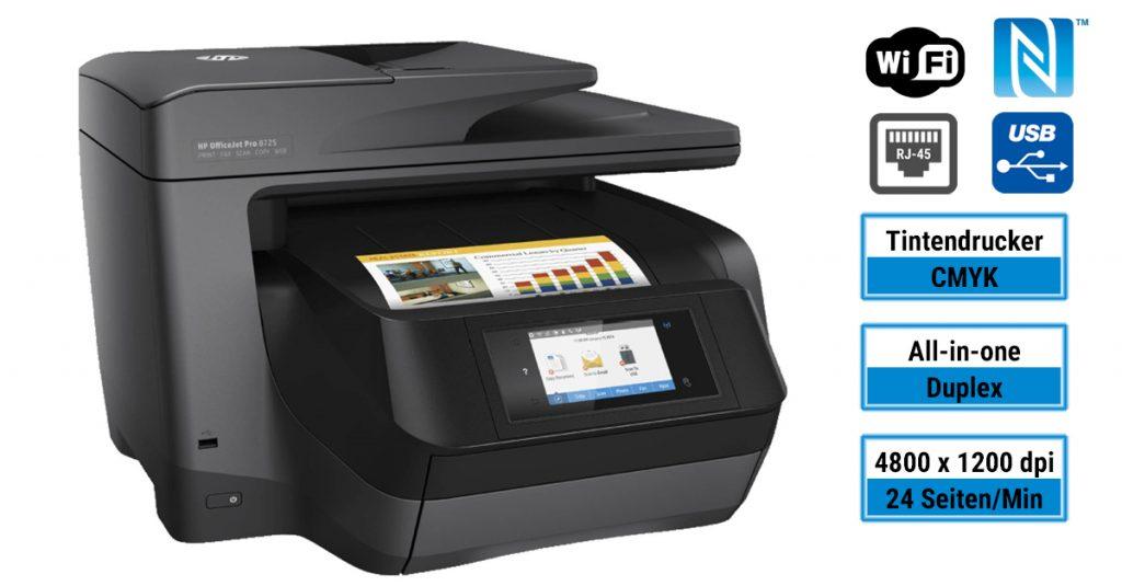 HP OfficeJet Pro 8725 – Multifunktionsdrucker für kleine und mittelständische Unternehmen