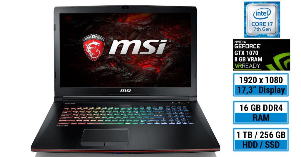 MSI GE72MVR 7RG-008 Apache Pro – Kraftvolles Gaming-Notebook mit 17,3-Zoll-Display