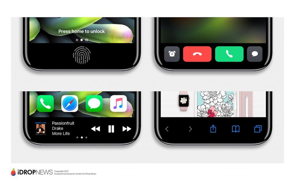 So könnte der Multifunktionsbereich beim iPhone 8 aussehen