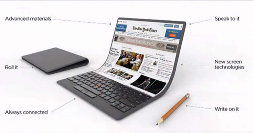 Lenovo-Konzept: Notebooks mit faltbaren Displays