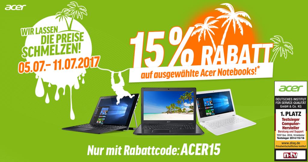 Acer Summer Sales – 15% auf ausgewählte Acer Notebooks sparen