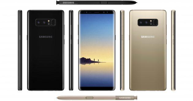 Samsung Galaxy Note 8 aus verschiedenen Perspektiven