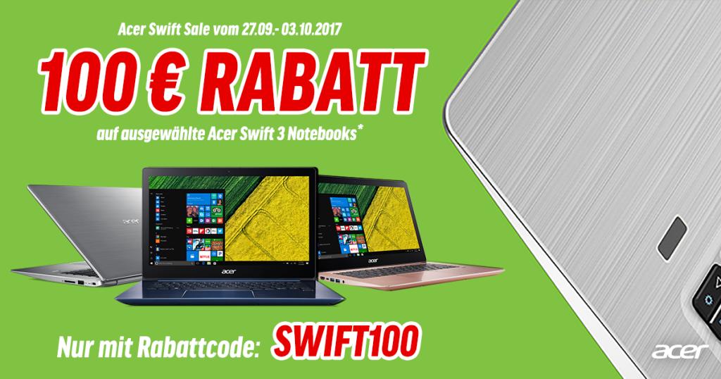 Acer Swift Sale – 100 Euro Rabatt auf ausgewählte Swift 3 Notebooks