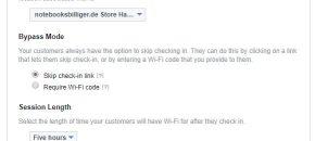 Die Einstellungen für Facebook Wifi
