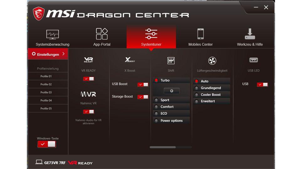 Einstellen der Lüftergeschwindigkeiten im MSI Dragon Center