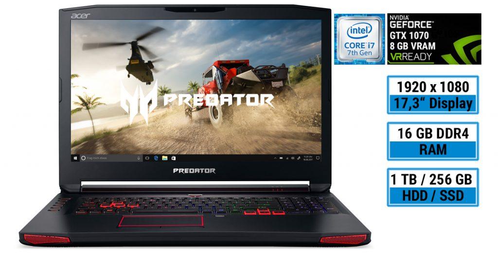 Test: Acer Predator 17 Gaming-Notebook jetzt mit Intel Kaby-Lake-CPU und NVMe-Modul