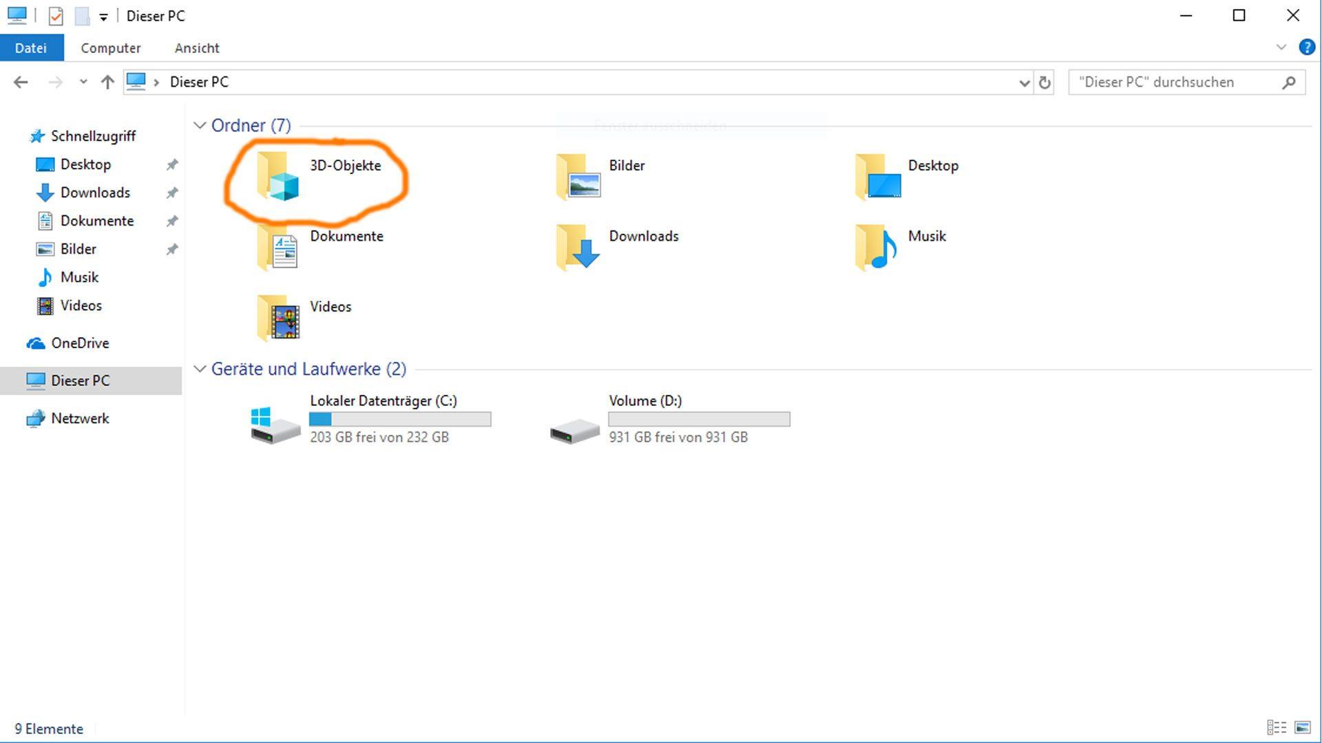 Bei den Dateien findet ihr nun einen neuen Ordner für 3D-Objekte.