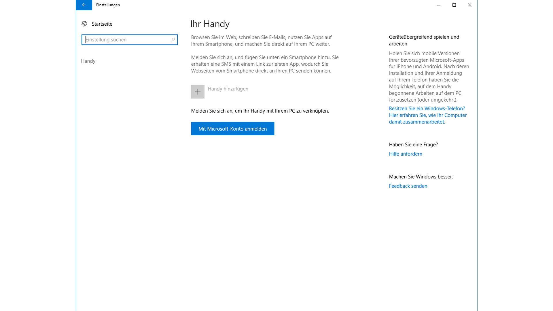 Hinzu kommt eine Option, mit der ihr euer Smartphone mit Windows 10 verknüpfen könnt.