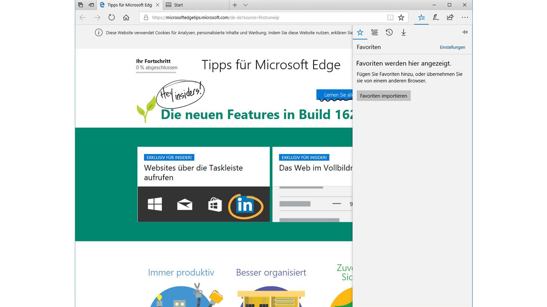 Microsoft Edge ist übersichtlicher z.B. bei der Auflistung eurer Favoriten.