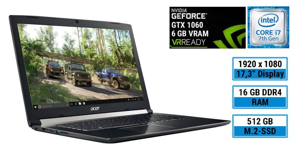 Acer Aspire 7 A717-71G-721V – Gaming-Notebook im schlichten Design, aber mit starker Hardware