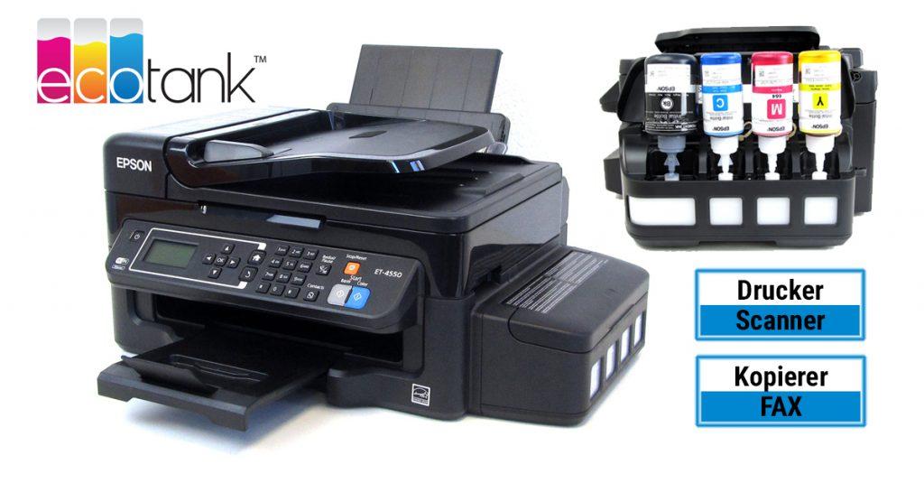 Epson EcoTank ET-4550 – Multifunktionsdrucker mit extra großen Tintentanks