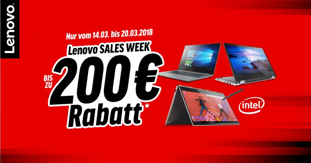 Lenovo Sales Week – bis zu 200 Euro sparen auf ausgewählte Produkte