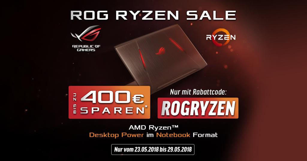 ASUS ROG RYZEN SALE – Bis zu 400 Euro auf ausgewählte ASUS Notebooks mit AMD Ryzen CPU