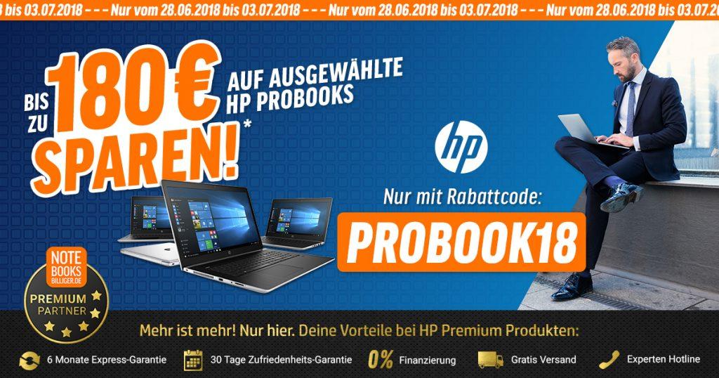 HP ProBook Aktion – Bis zu 180 € auf ausgewählte HP Pro Books sparen
