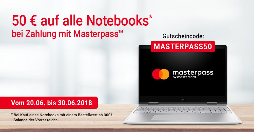 Zahle mit Masterpass und spare 50€ auf alle Notebooks