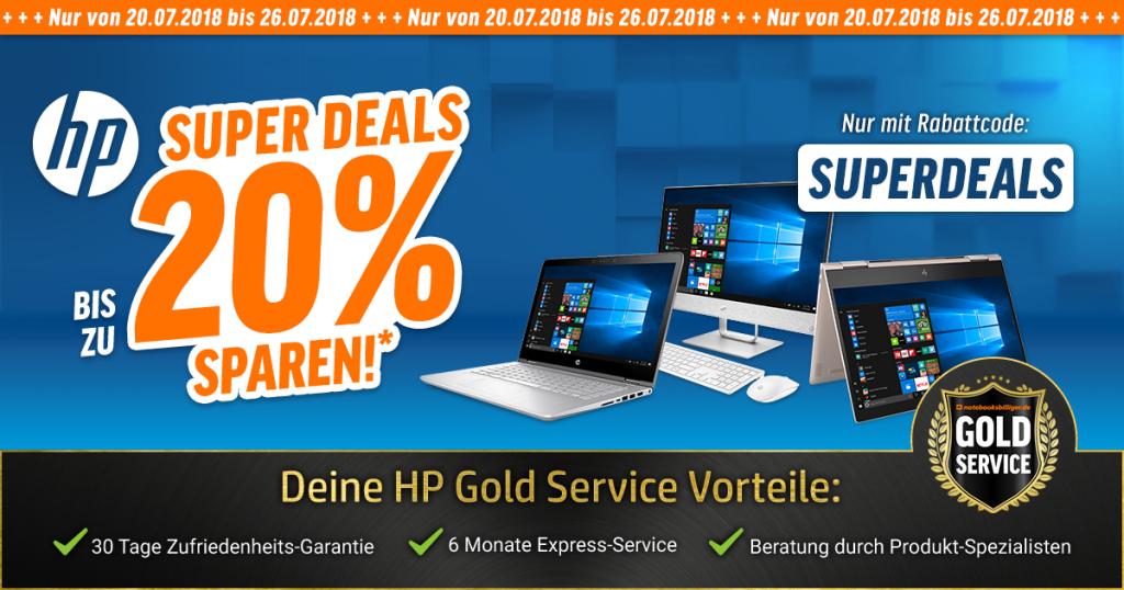 HP SUPERDEALS: Bis zu 20% auf ausgesuchte AiO-PCs, Notebooks und PC-Systeme von HP sparen