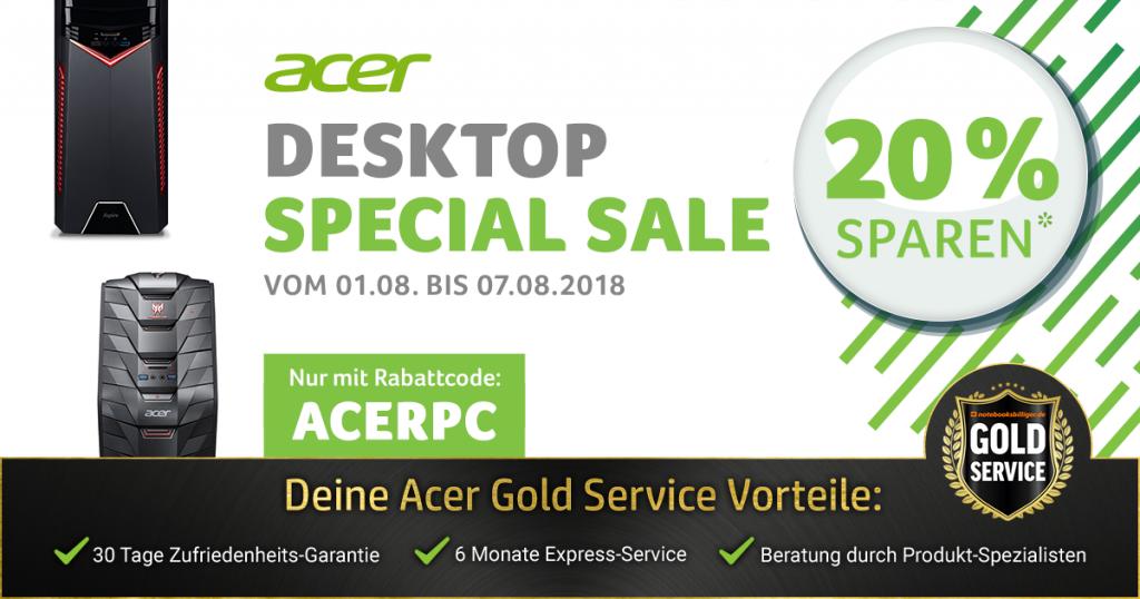 Acer Desktop Special Sale – 20% auf ausgesuchte PC-Systeme von Acer sparen