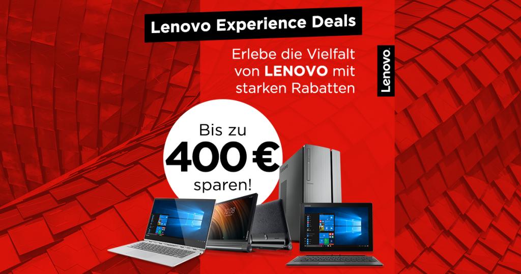 LENOVO Experience Deals: Bis zu 400€ auf ausgesuchte Tablets, Notebooks und PC-Systeme von Lenovo sparen