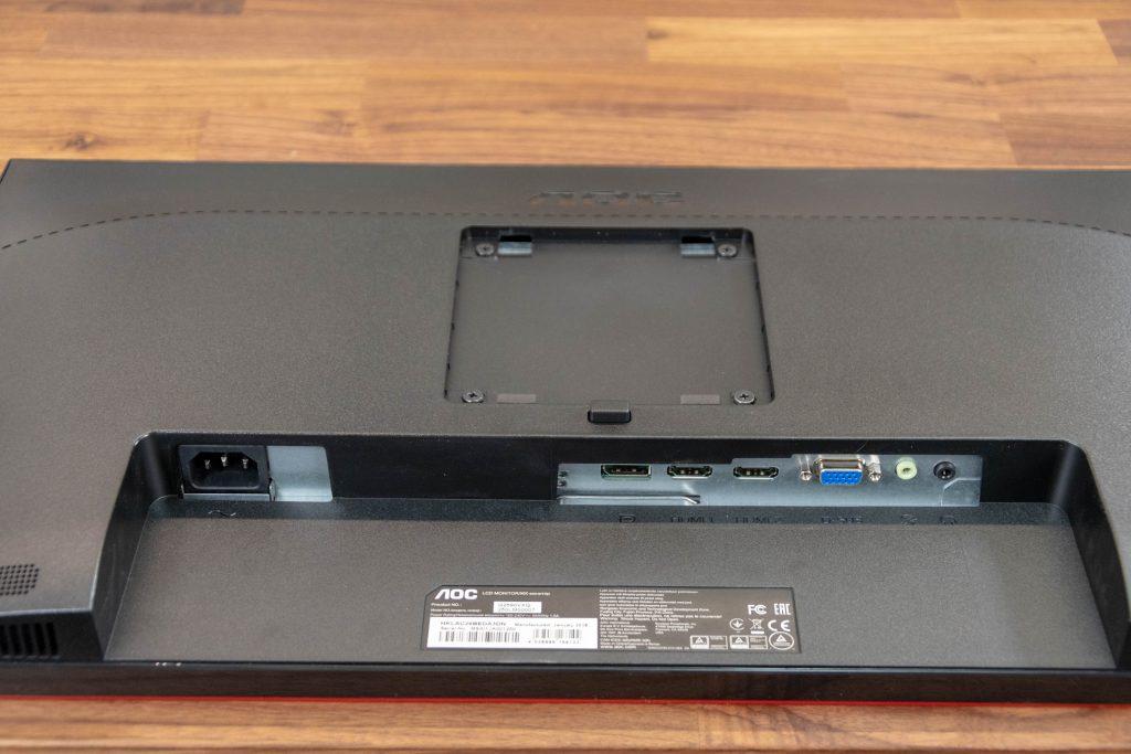 AOC G2590VXQ Gaming-Monitor Rückseite mit VESA-Halterung und Anschlüssen