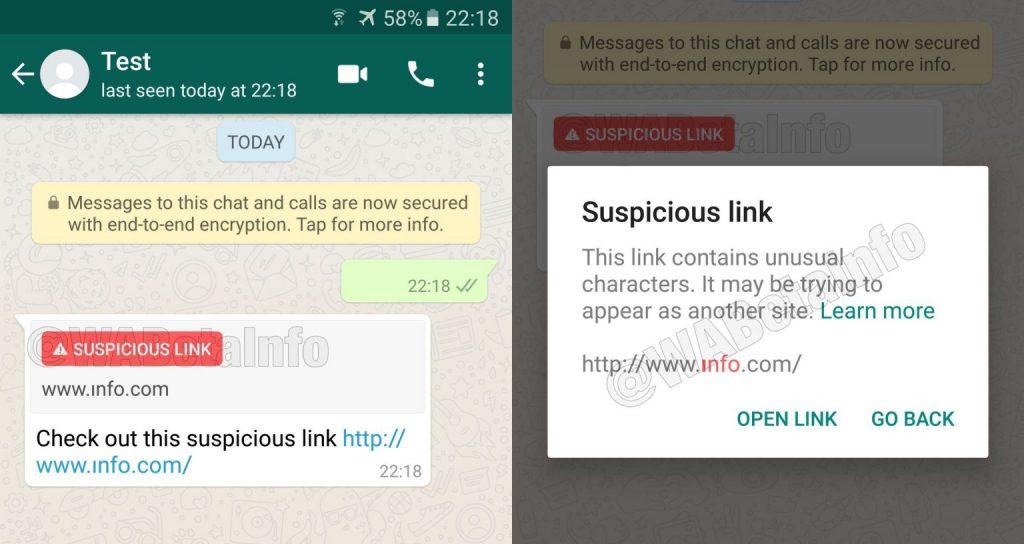 whatsapp verdächtige links