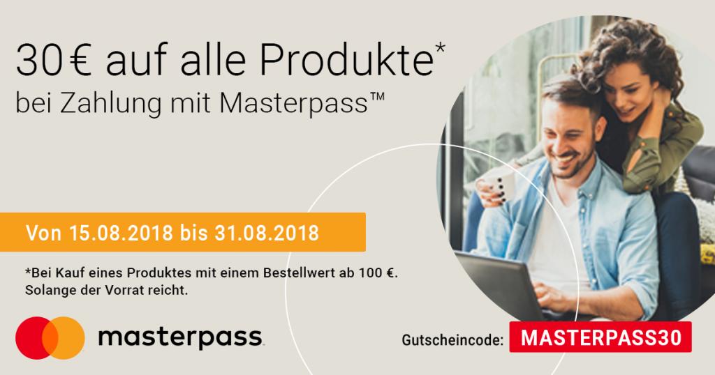 Auf alle Produkte: Mit Masterpass den Sommer genießen und 30 € Sofortrabatt sichern!
