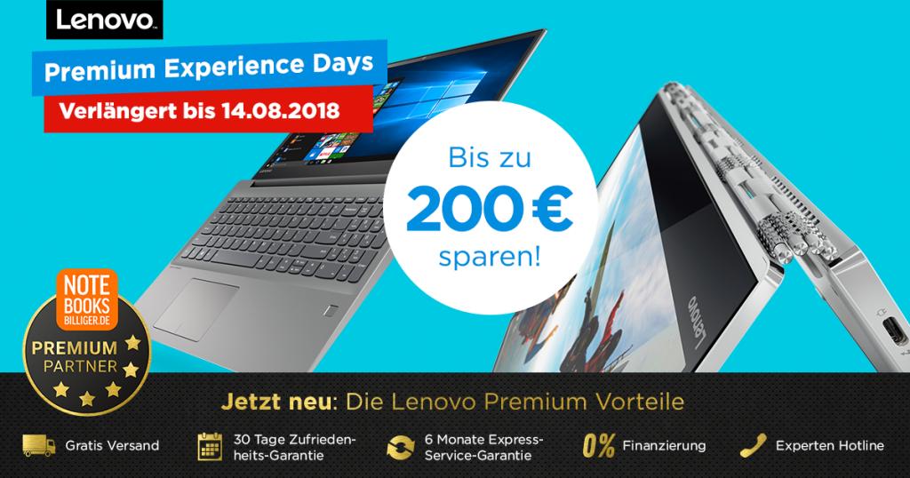 Lenovo Premium Experience Days – bis zu 200 € auf ausgesuchte Notebooks, Tablets und PCs sparen