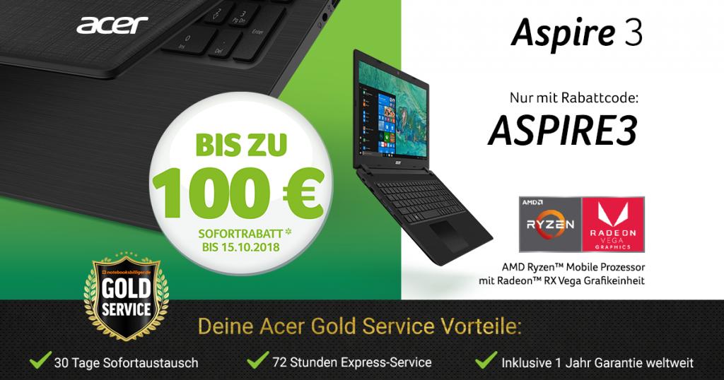 Erhalte jetzt bis zu 100 € Sofortrabatt auf ausgewählte Acer Aspire 3 Modelle mit AMD Ryzen™ Prozessor