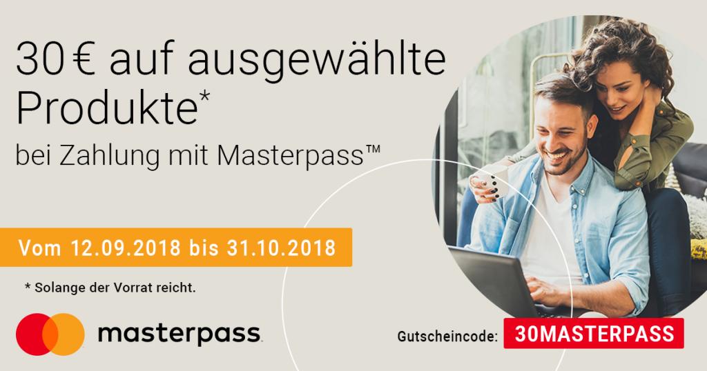 Zahle mit Masterpass und spare 30€ bei ausgewählten Produkten