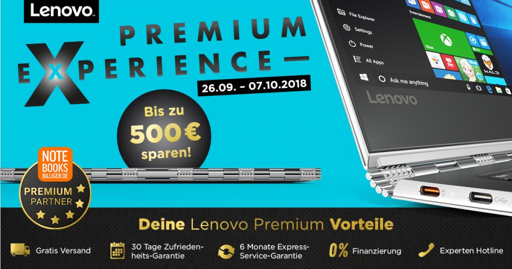 Lenovo Premium Experience Days – bis zu 500 € auf ausgesuchte Notebooks, Tablets und PCs sparen