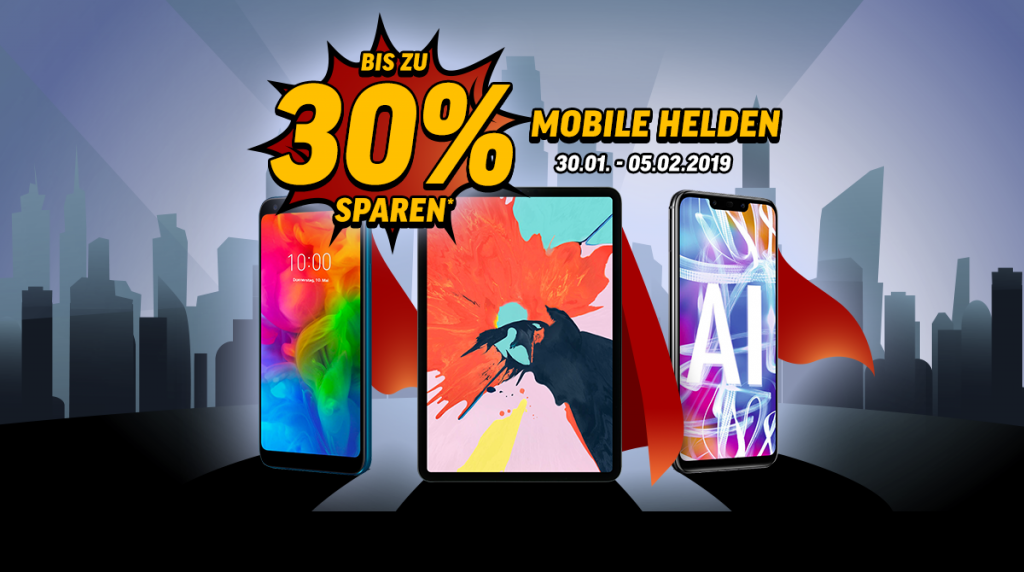 Mobile Helden – spare bis zu 30 % auf ausgesuchte Smartphones und Tablets