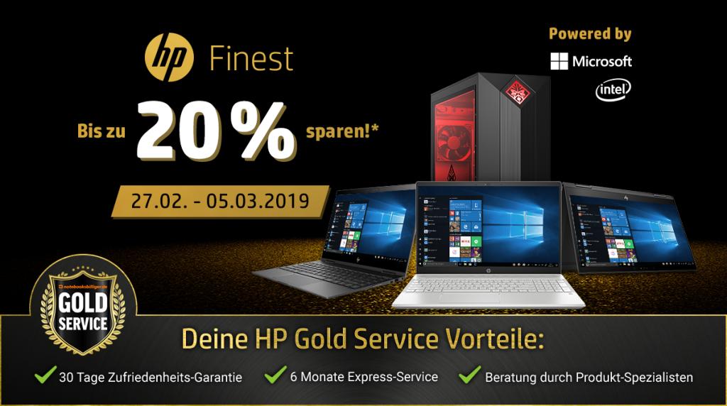 HP Finest – Bis zu 20% auf ausgewählte PC-Systeme und Notebooks von HP sparen