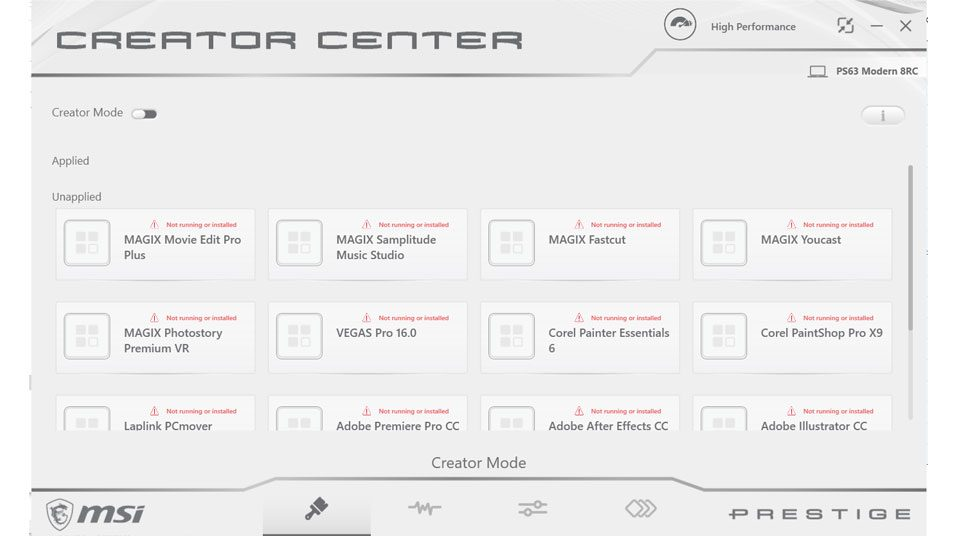 MSI Creator Center – Creator Mode