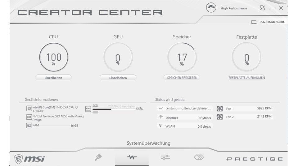 Systemüberwachung – Informationen zur Hardware