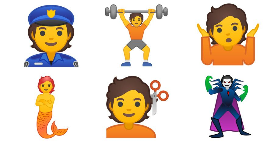 Das Bild zeigt sechs der neuen genderneutralen Emojis: Police Officer, Person Lifting Weights, Person Shrugging, Merperson, Person Getting Haircut und Supervillain