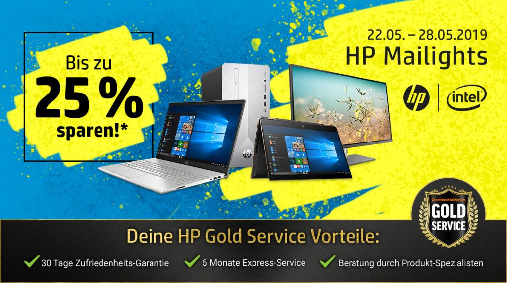 HP Mailights: Spare bis zu 25% auf ausgewählte Notebooks, PCs, Monitore, Drucker und Zubehör