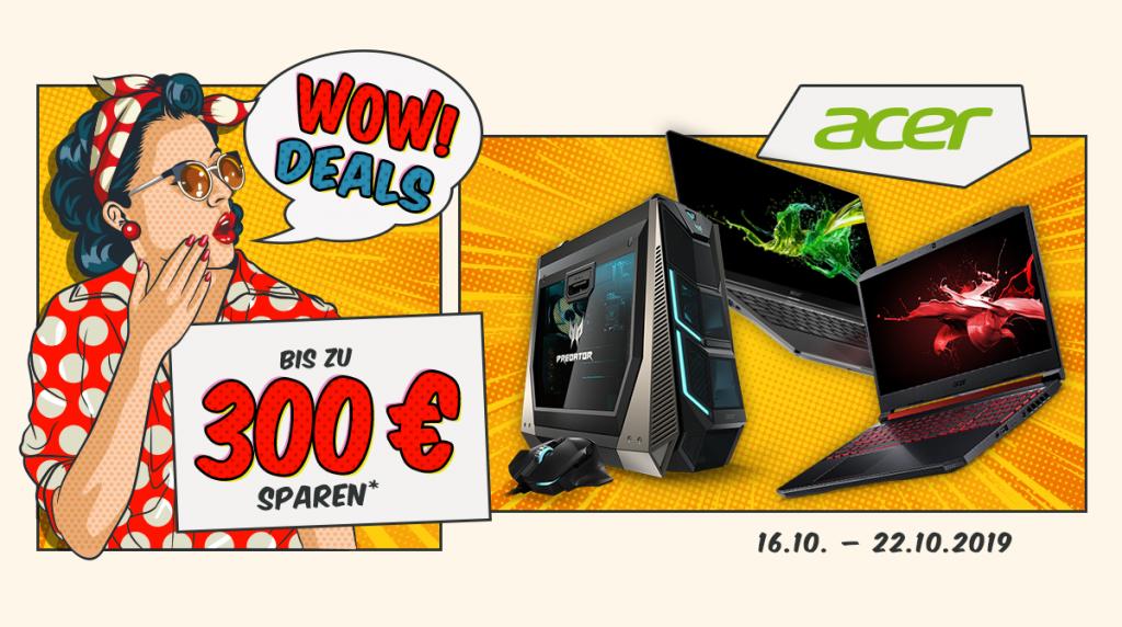 Acer Wow Deals: Bis zu 300 Euro auf Notebooks, PCs und Zubehör sparen