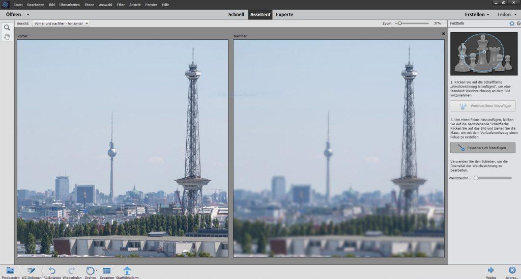 Adobe Photoshop Elements 2020 Schärfentiefe Effekt