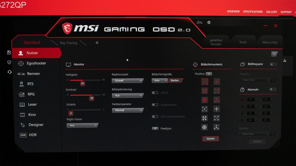 Gaming OSD MSI Optix MAG272