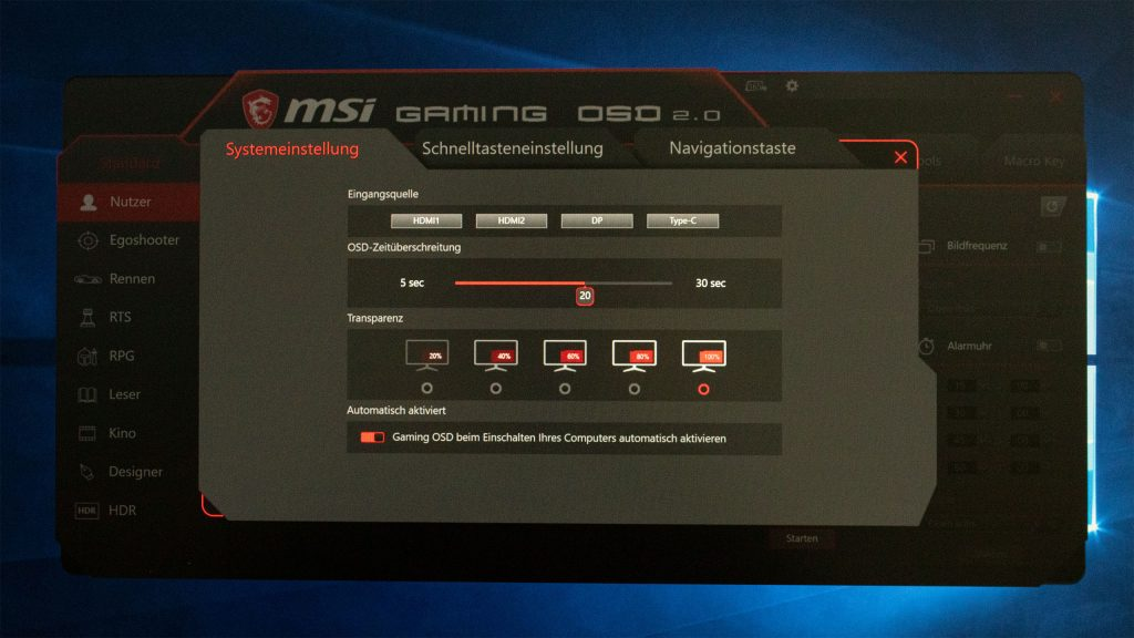 Gaming OSD Systemeinstellung MSI Optix MAG272