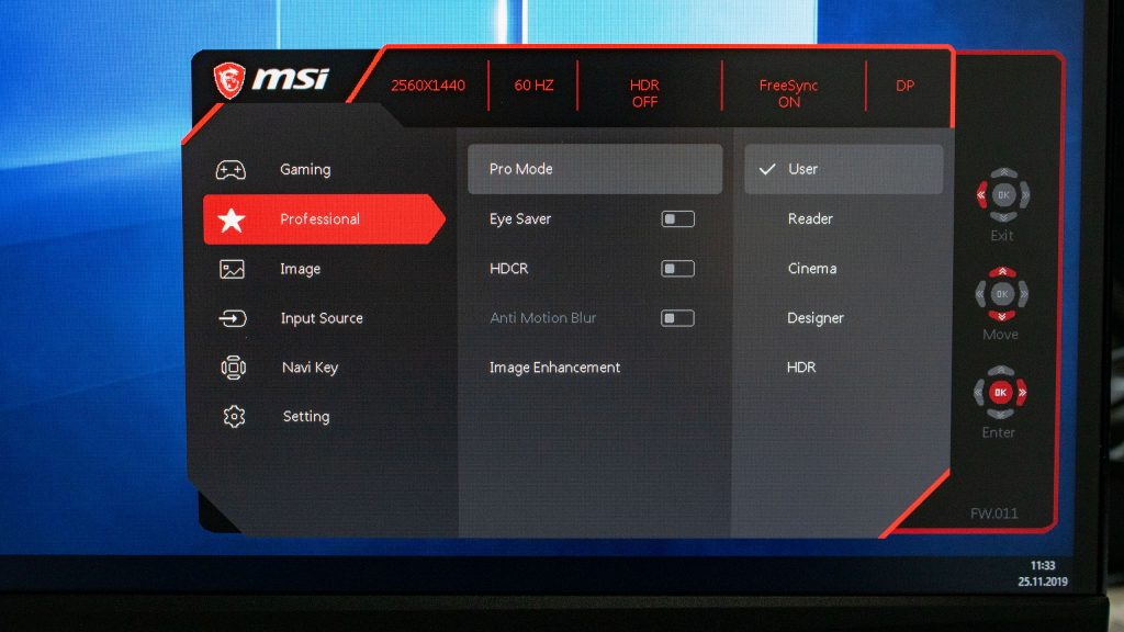 Menü Professional MSI Optix MAG272