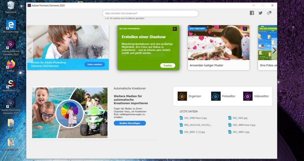 Adobe Photoshop Elements 2020 ; Startbildschirm