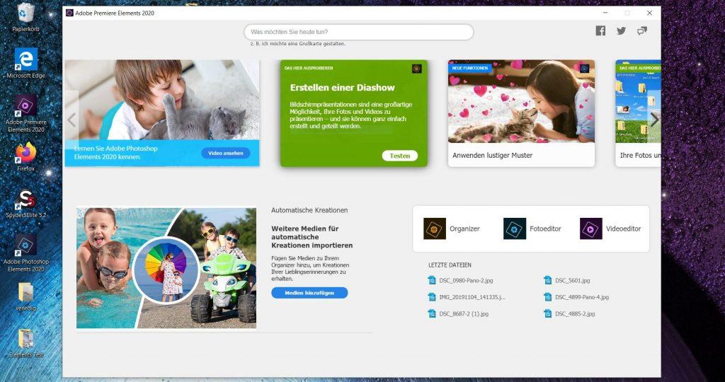 Adobe Premiere Elements 2020 Startbildschirm