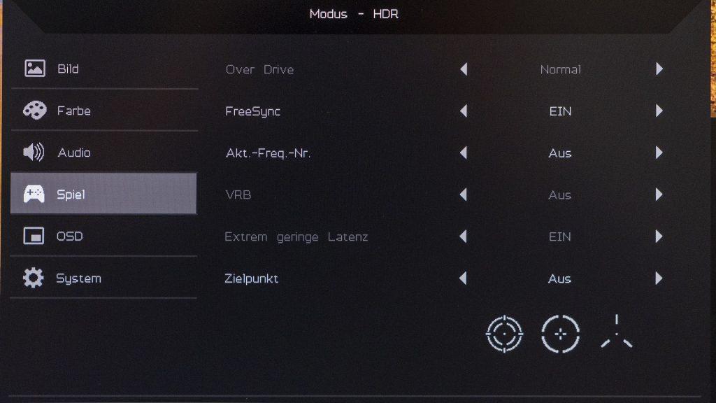 Acer Nitro XV272UP OSD Menü Game-Modi