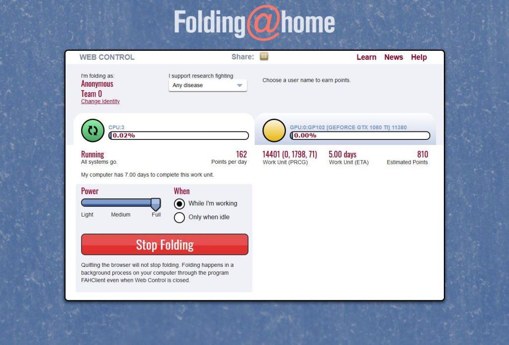 GPU gegen Covid SARS-CoV-2Corona Folding@Home