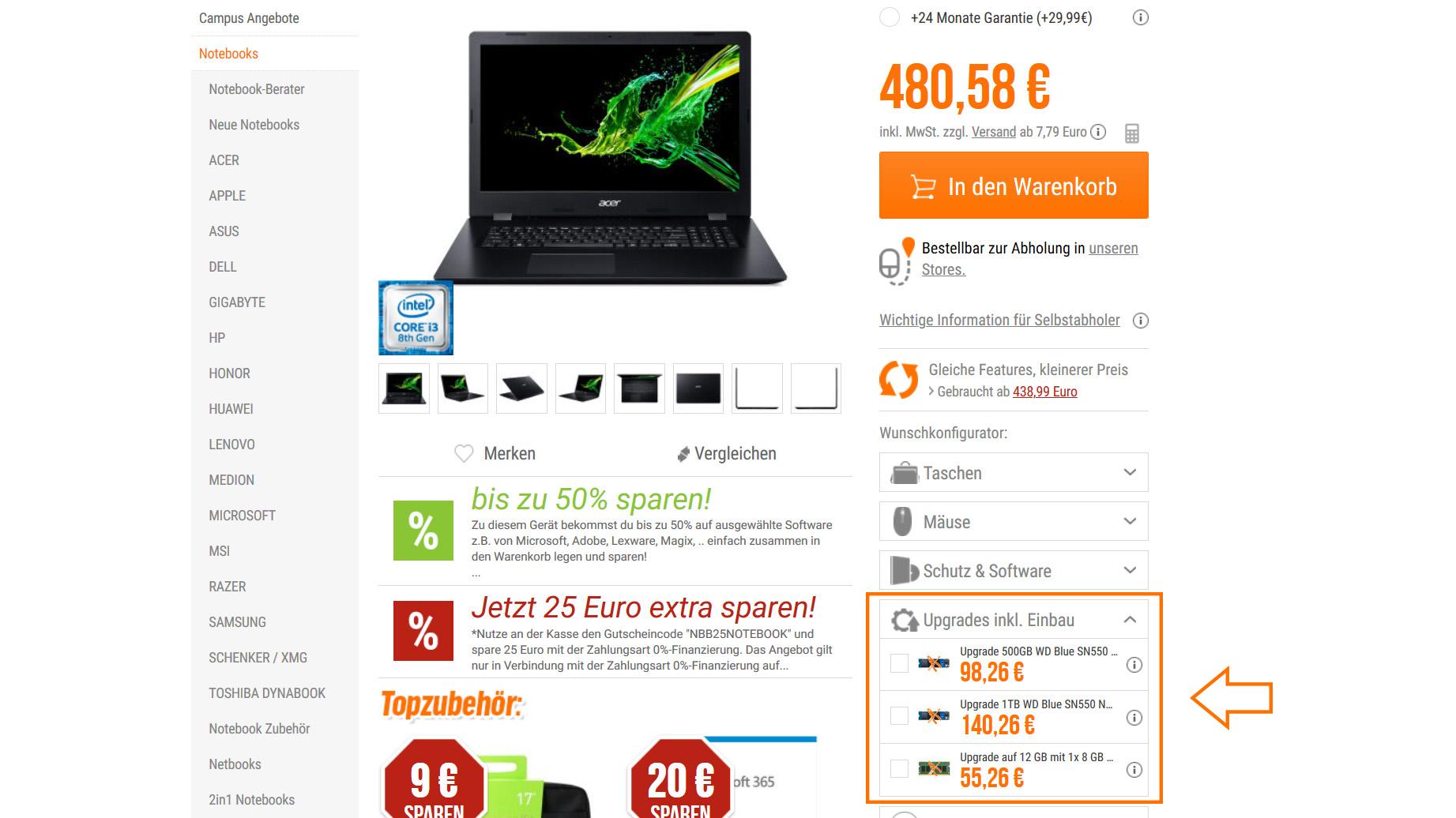 NBB-Shop Upgrade SSD & RAM vor Bestellung