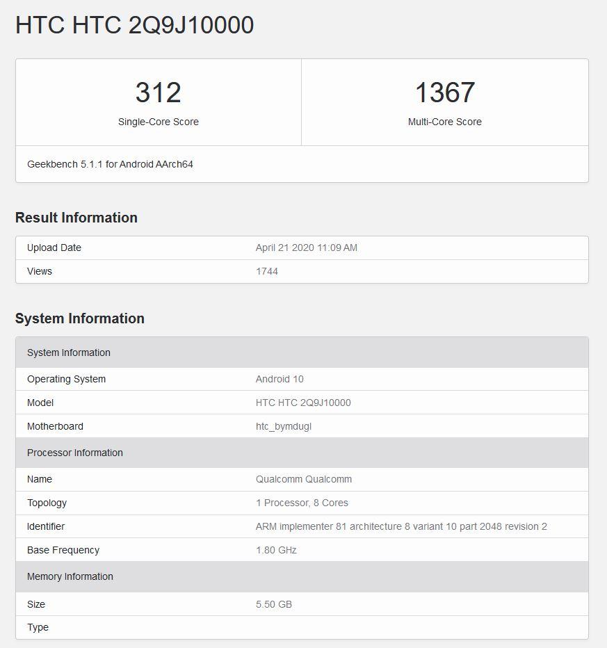 HTC Desire Pro 20 Geekbench