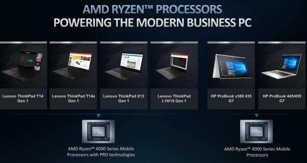 AMD Ryzen 4000 Pro Lenovo ThinkPad HP Probook