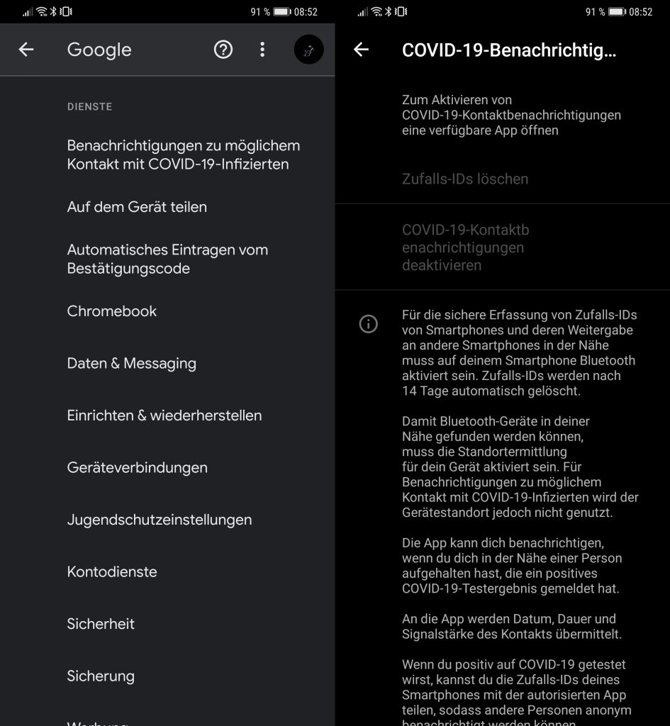 corona-app schnittstelle unter android